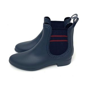 Henry Ferrera Rubber Boots Stripe Ankle Navy 8 New